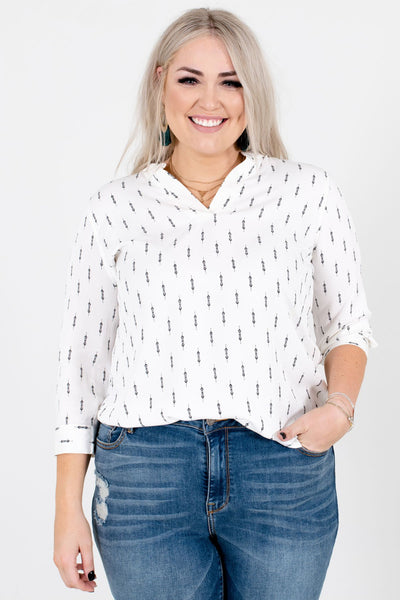 Women's White Lightweight Flowy Boutique Blouse
