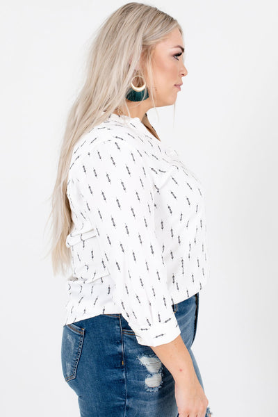 White High-Low Hem Boutique Blouses for Women
