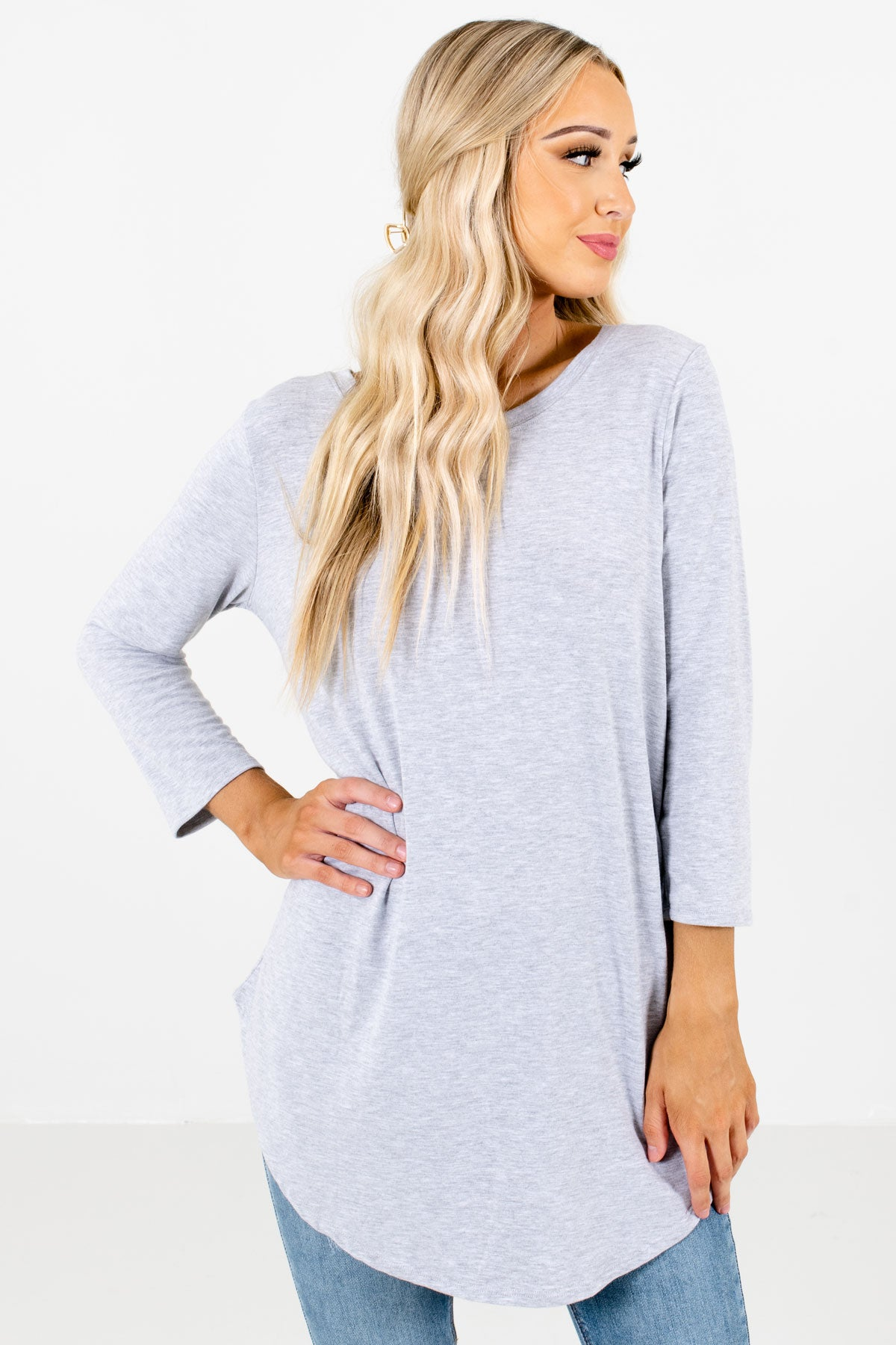 Heather Gray ¾ Length Sleeve Boutique Tops for Women