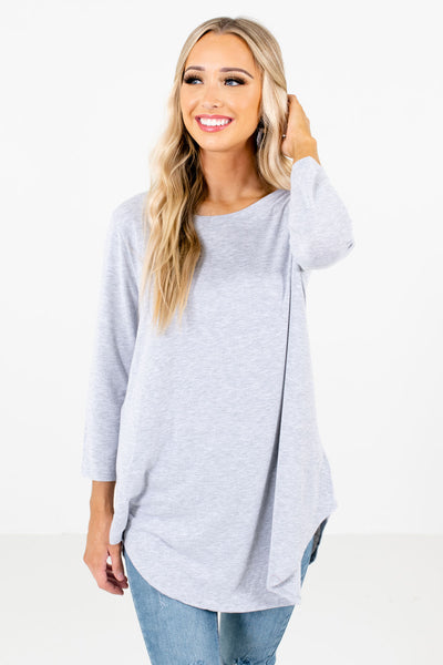 Women's Heather Gray Lightweight Boutique Tops