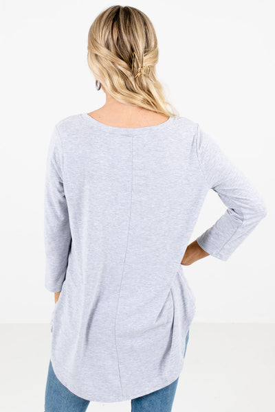 Women's Heather Gray Round Neckline Boutique Top