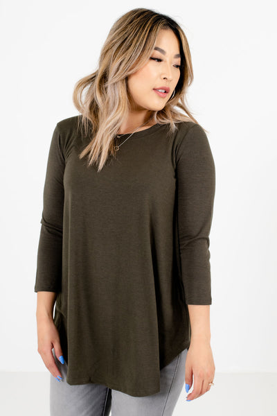 Women's Olive Green Lightweight Boutique Tops