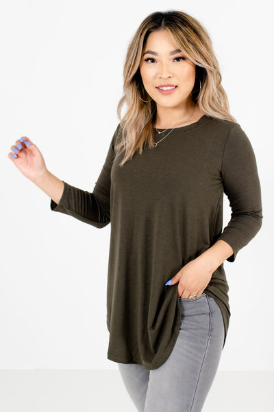 Women's Olive Green Basics Boutique Top