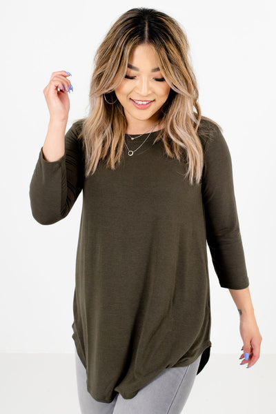 Olive Green ¾ Length Sleeve Boutique Tops for Women