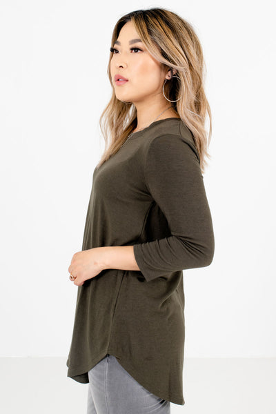 Olive Green Boutique Layering Tops for Women