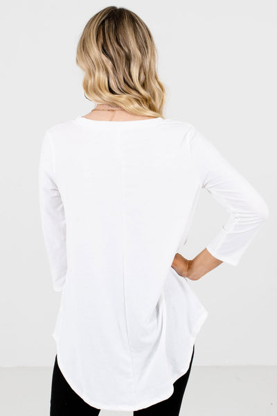Women's White Round Neckline Boutique Top