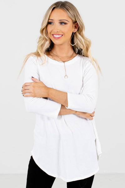 Women's White Lightweight Boutique Tops