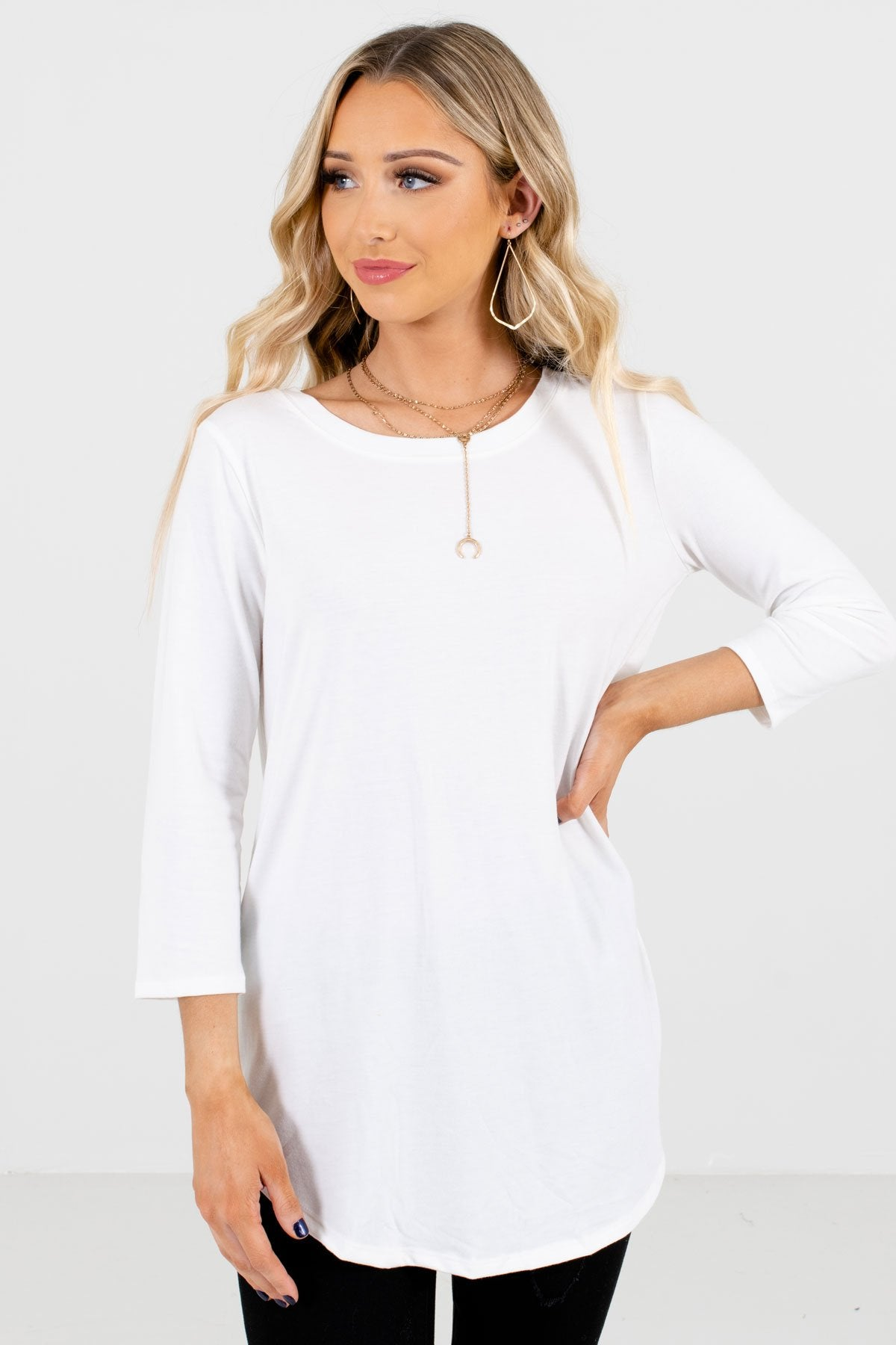White ¾ Length Sleeve Boutique Tops for Women