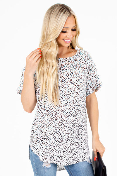 White and Black Abstract Polka Dot Patterned Boutique Blouses for Women