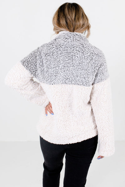 Women's Gray Faux Sherpa Material Boutique Pullover