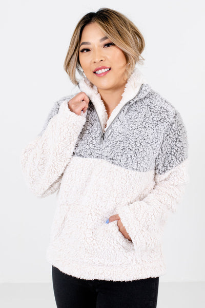 Women's Gray Zip-Up Neckline Boutique Pullover