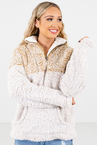 Mustard Cute and Comfortable Boutique Sherpa Pullovers for Women