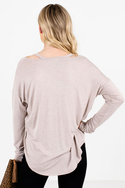 Women's Taupe Brown V-Neckline Boutique Tops