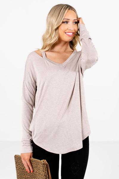 Women's Taupe Brown Rounded Hem Boutique Tops