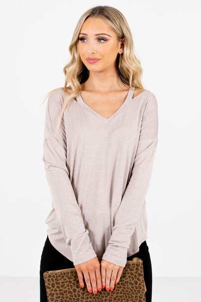 Women's Taupe Brown Basic Layering Boutique Tops