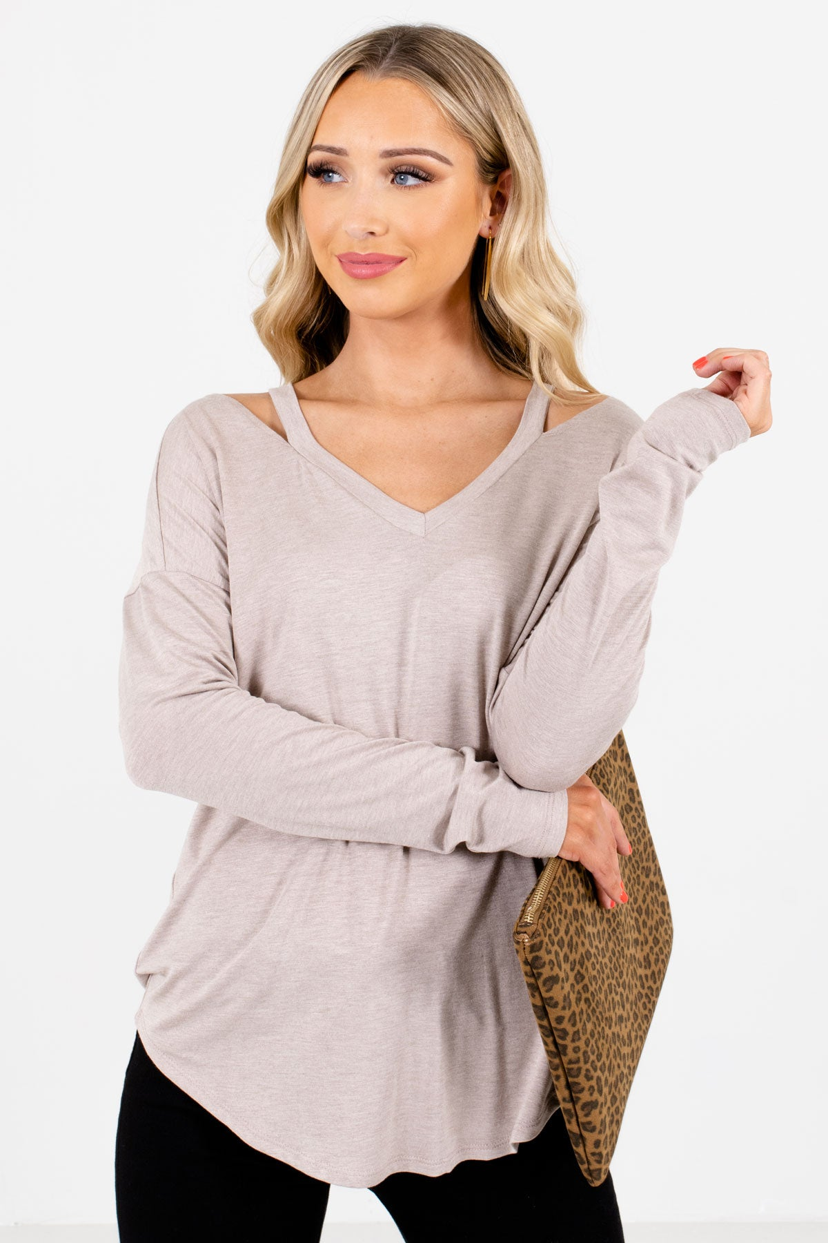 Taupe Brown Cutout Shoulder Detailed Boutique Tops for Women