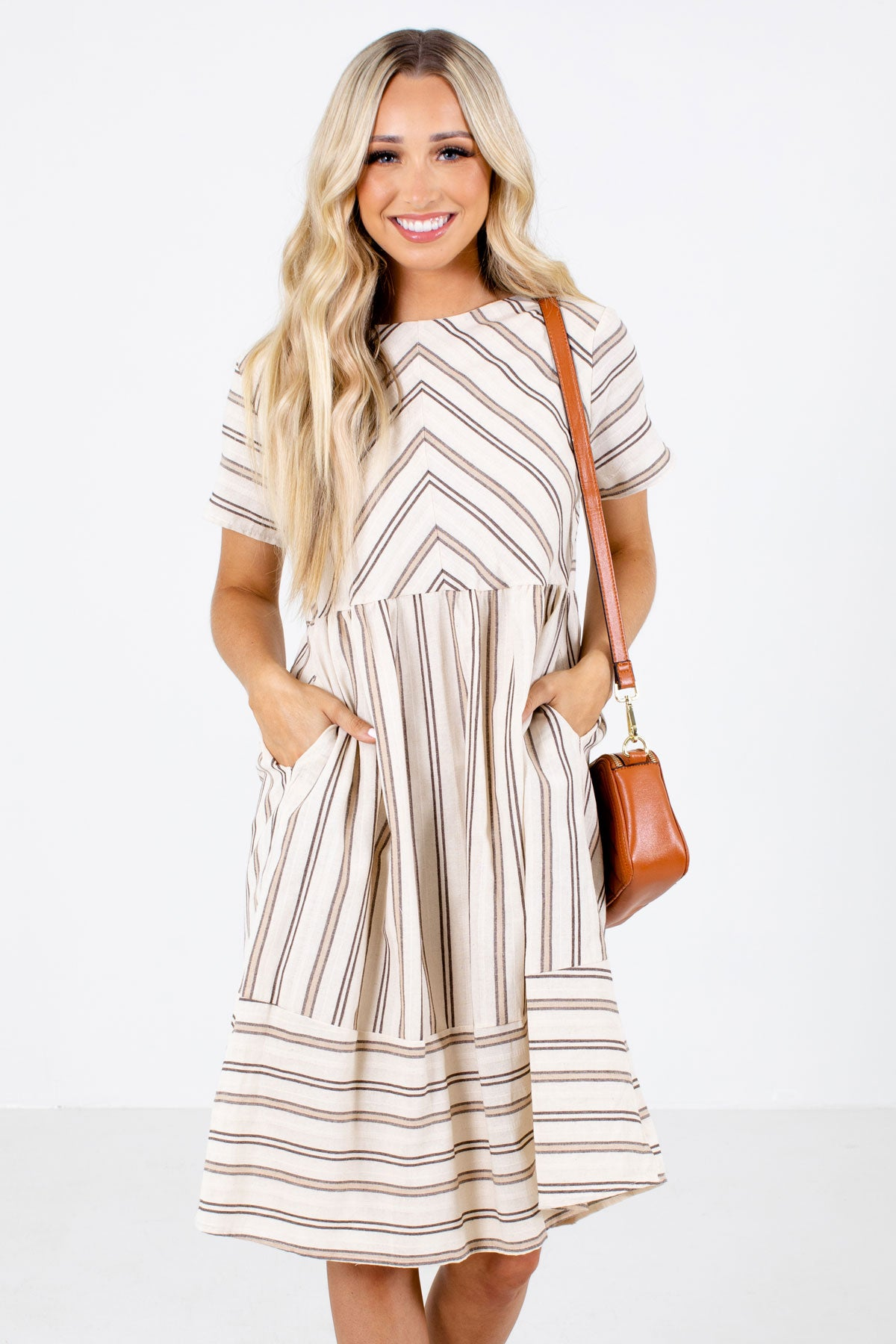 Brown Striped Boutique Knee-Length Dresses for Women