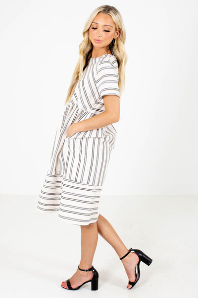 Keep the Vibe Striped Knee-Length Dress