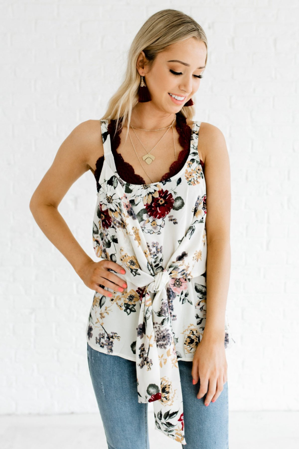 Cream Floral Patterned Boutique Flowy Tops for Women