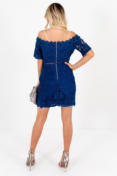 Women's Blue Crochet Lace Boutique Mini Dress