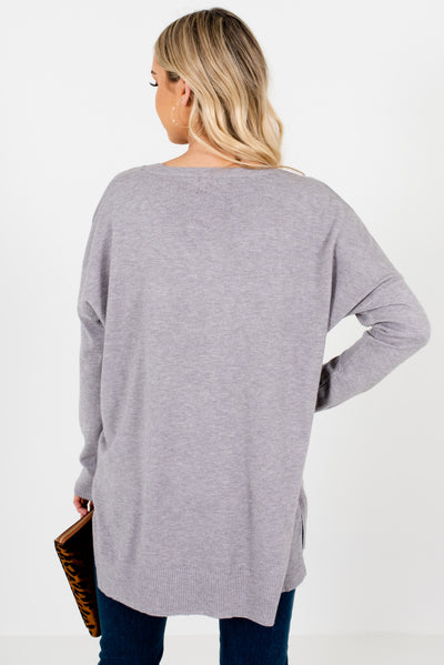 Women's Light Gray High-Low Hem Boutique Sweater