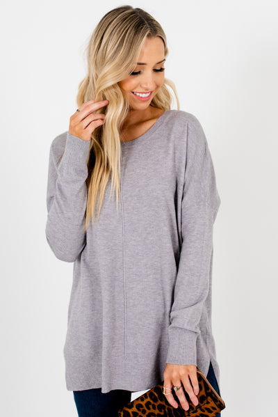 Light Gray High-Quality Cozy Boutique Sweaters for Women