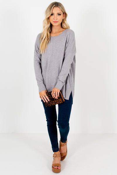 Women's Light Gray Split Seam Boutique Sweater