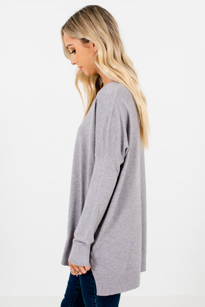 Light Gray Boutique Sweaters with Ribbed Accents for Women