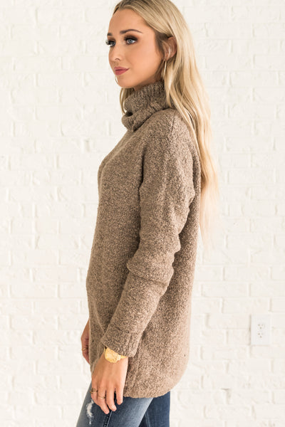 Cozy Brown Cowl Neck Sweaters from Affordable Online Winter Boutique