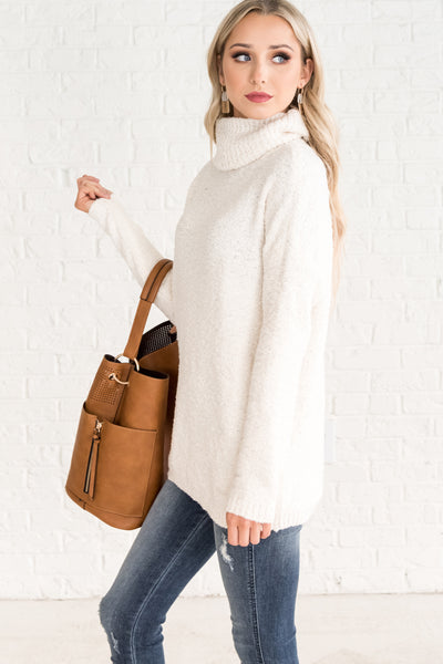 White Cute Comfortable Sweaters for Women Cozy