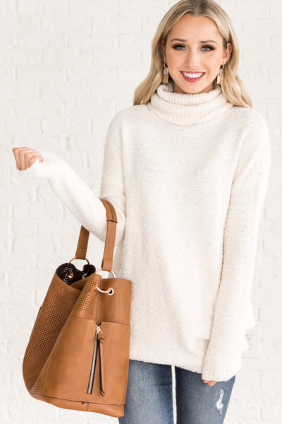 White Cowl Neck Sweaters for Women Cozy