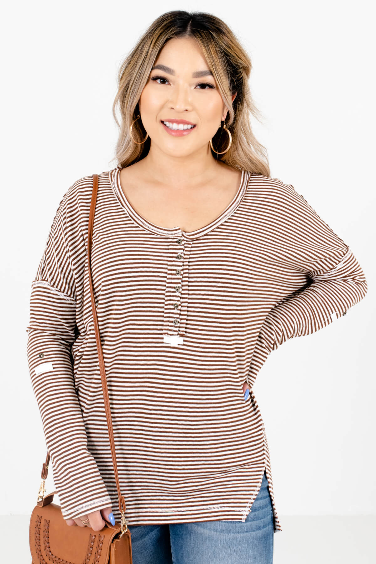 Brown and White Striped Boutique Tops for Women