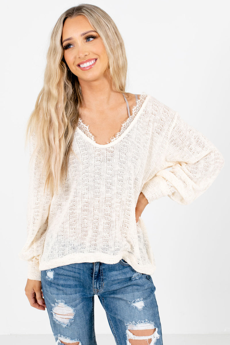 Keeping it Casual Cream Knit Top