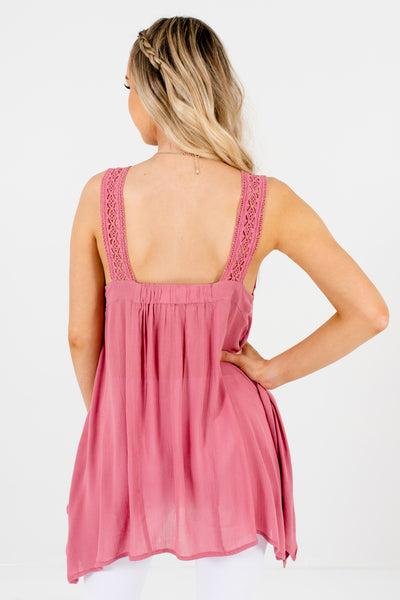 Pink Crochet Lace Handkerchief Hem Tank Tops for Women