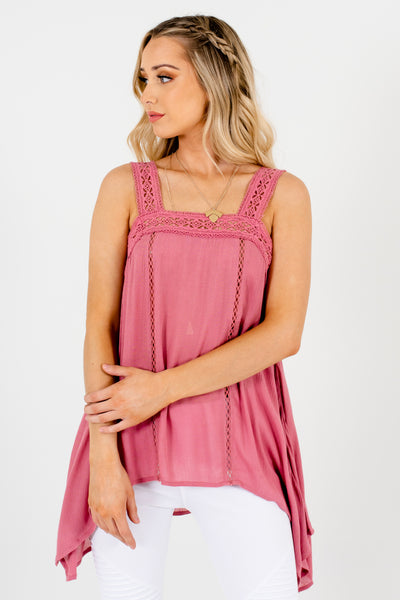 Pink Crochet Lace Semi Sheer Handkerchief Hem Tank Tops