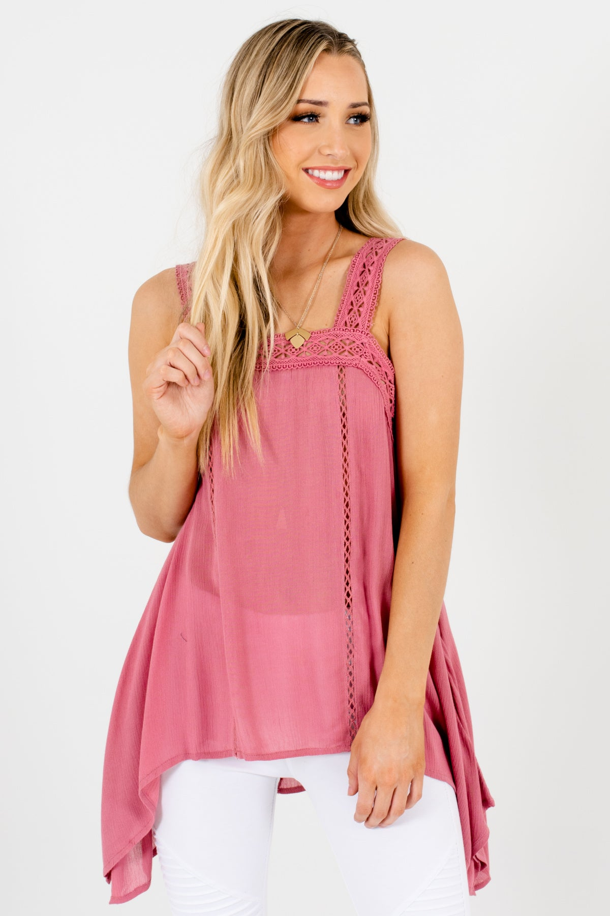 Pink Handkerchief Hem Crochet Lace Tank Tops for Women