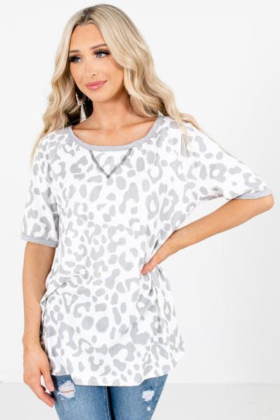 White and Gray Leopard Print Patterned Boutique Tops for Women