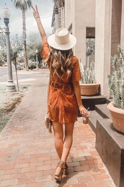 Tawny Orange Cute Floral Crochet Lace Overlay Mini Dress