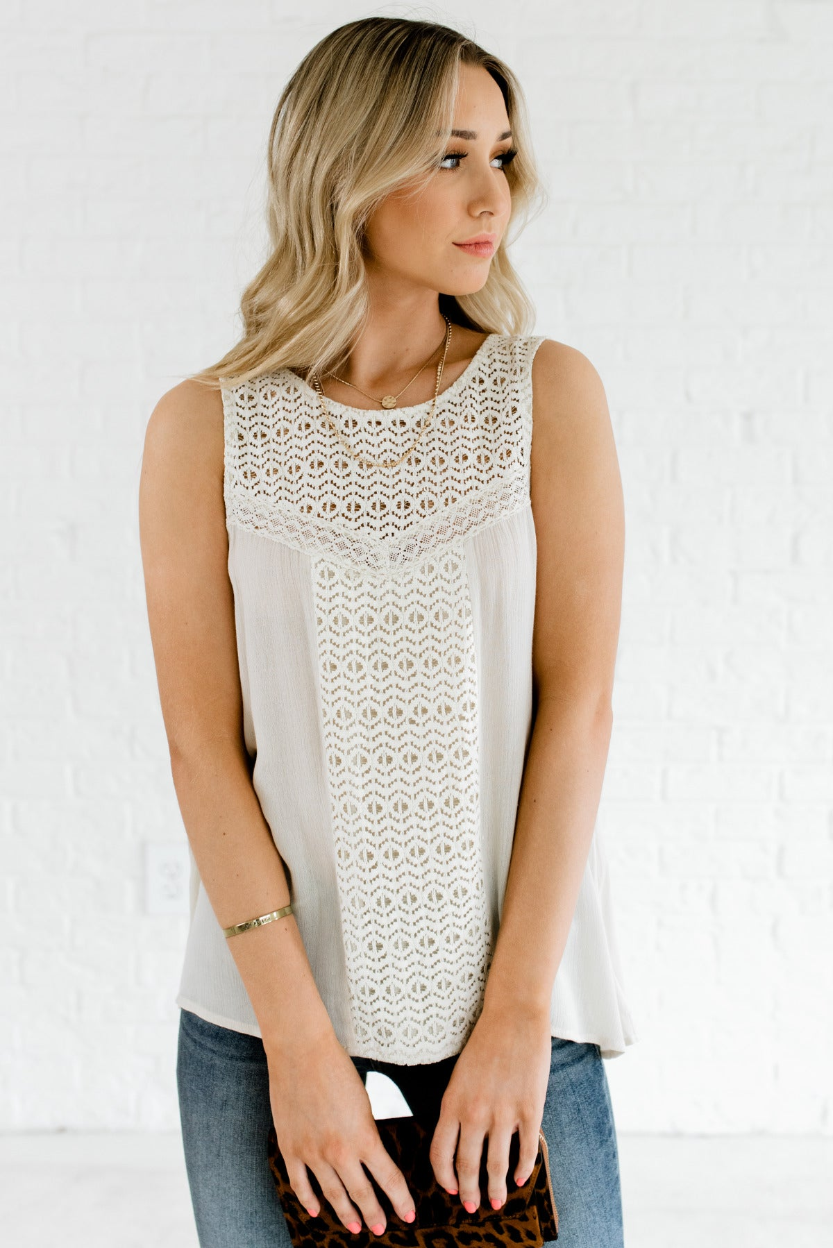 Kind Hearted Cream Lace Tank