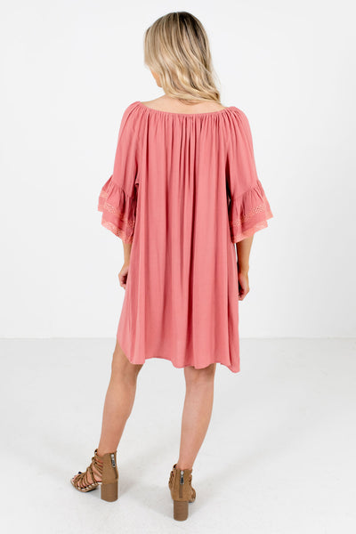 Women's Pink Bell Sleeve Boutique Mini Dress