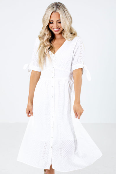 Women's White V-Neckline Boutique Midi Dress