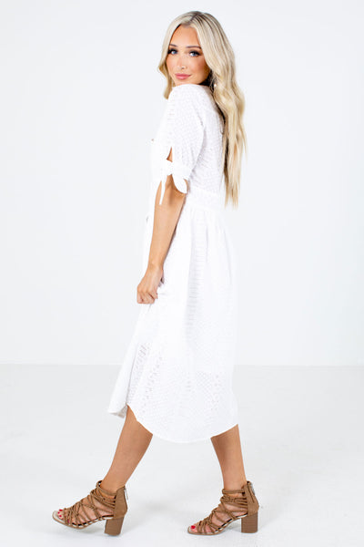 White Eyelet Material Boutique Midi Dresses for Women