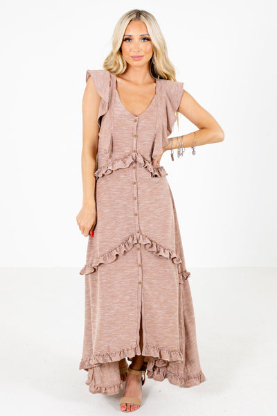 Brown High-Low Hem Boutique Maxi Dresses for Women