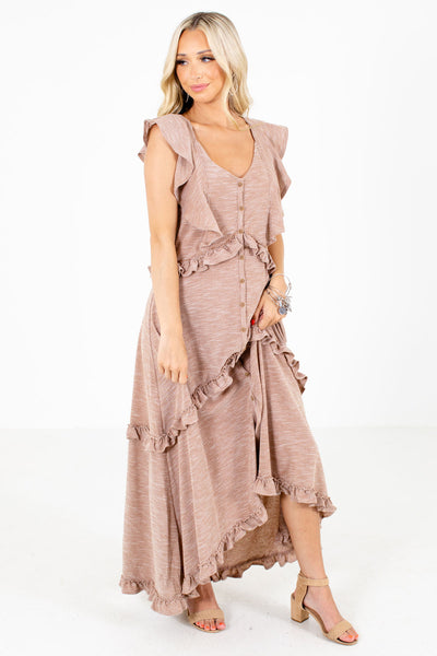 Women's Brown Cute and Comfortable Boutique Maxi Dress