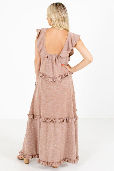 Women's Brown Ruffle Accented Boutique Maxi Dress
