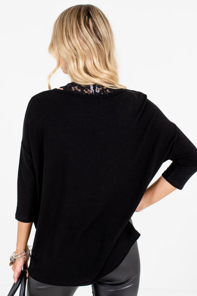 Women's Black 3/4 Length Sleeve Boutique Tops