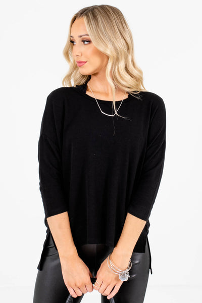 Women's Black Relaxed Fit Boutique Tops