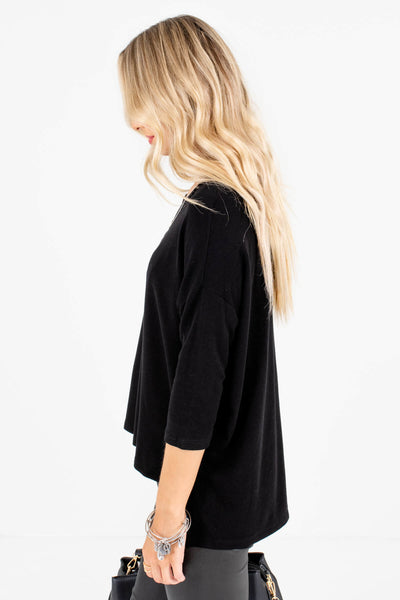 Women's Black High-Quality Soft Material Boutique Tops