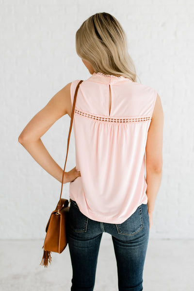 Pink Women's Boutique Blouse with Back Keyhole Detail