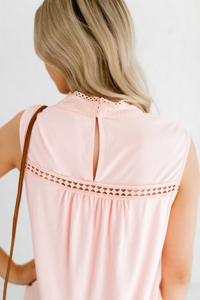 Pink Semi-Sheer Boutique Blouses for Women